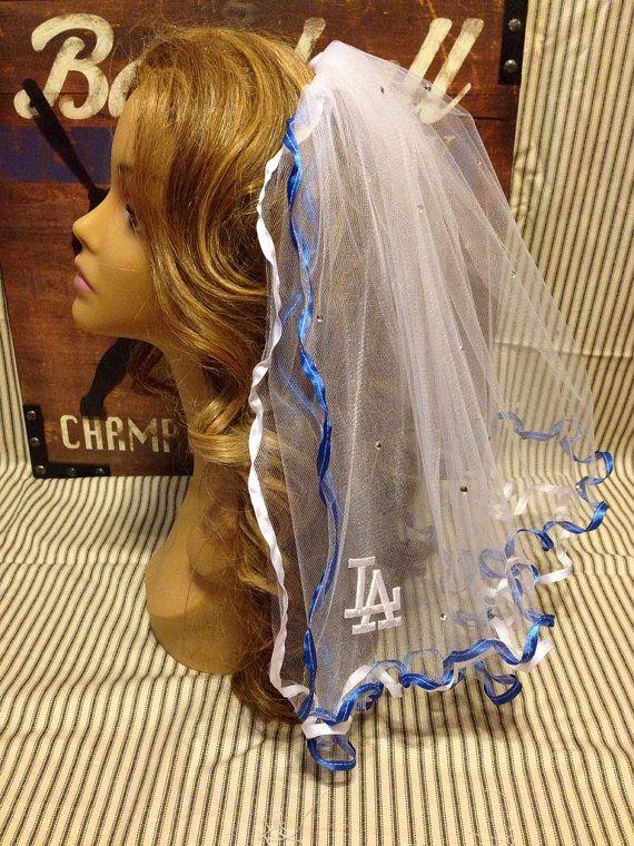 LA Dodgers Bachelorette Party Veil on Etsy, $35.00