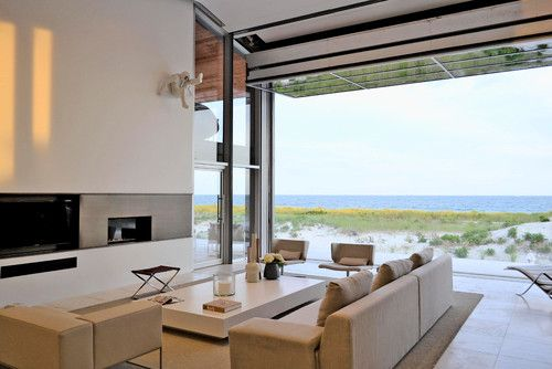 Long Island Beach House With Glass Airport Hangar Door Ny West Chin Architects Interior