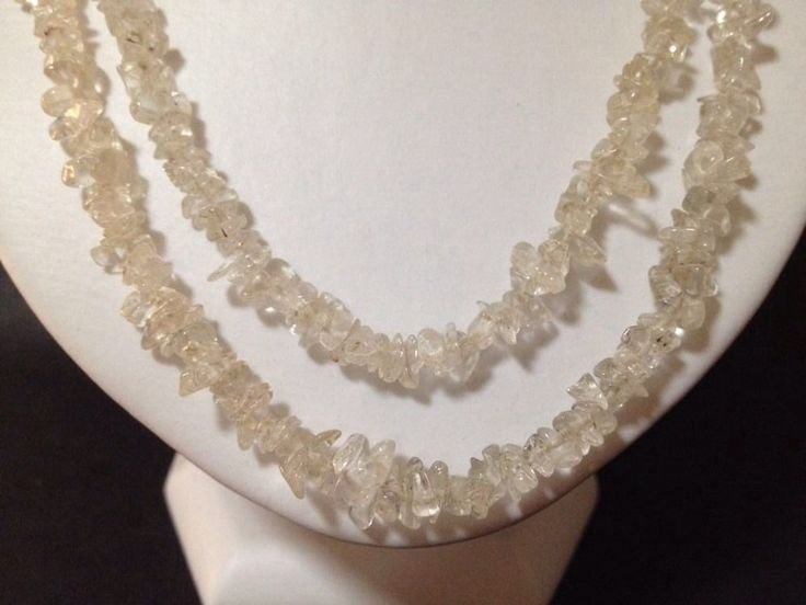 Pre Owned White Quartz Chips / Beads Strand Necklace - Good Condition