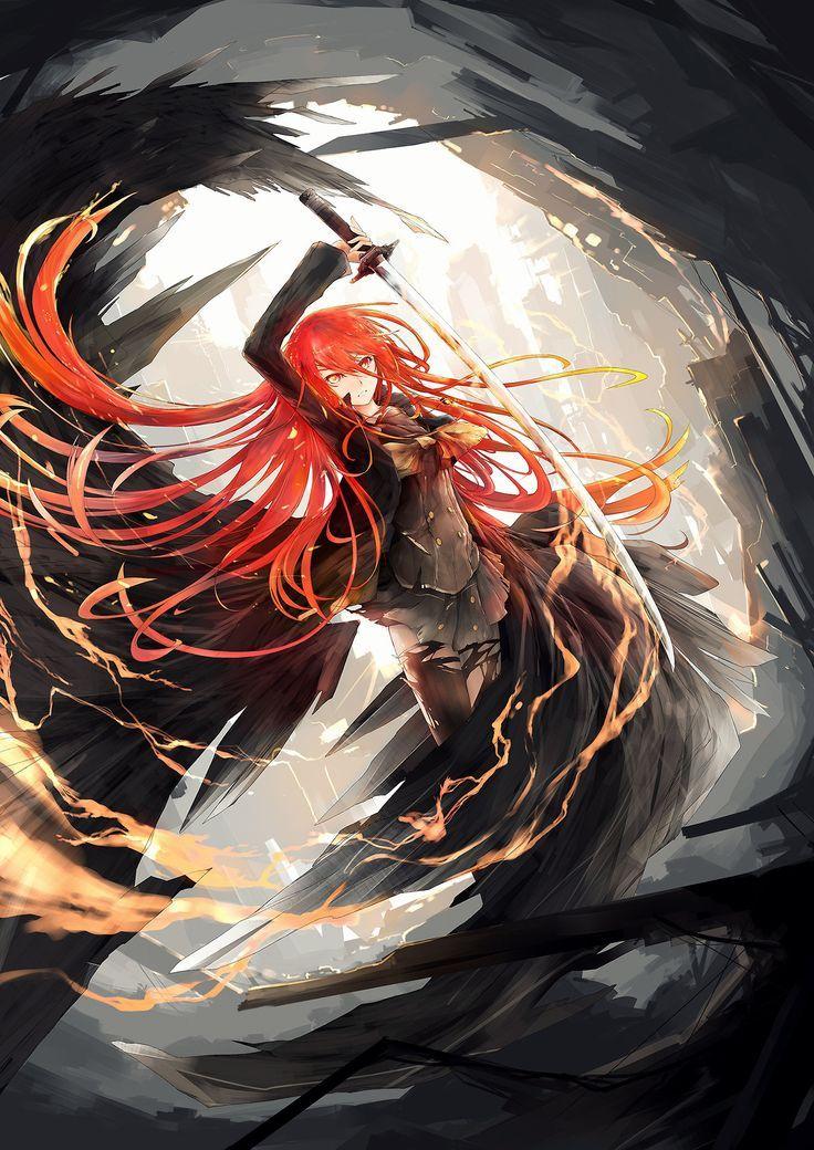 Fire girl Shana & katana: Shakugan no Shana anime illustration [by abcd1234ken] …