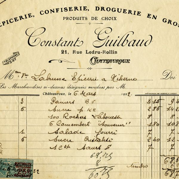 Free vintage clip art French invoice Constant Guilbaud