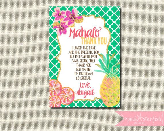 11 best thank you notes images on pinterest anniversary ideas aloha invitation aloha thank you luau invitation luau birthday invitation hawaiian birthday invitation thank you digital stopboris Image collections