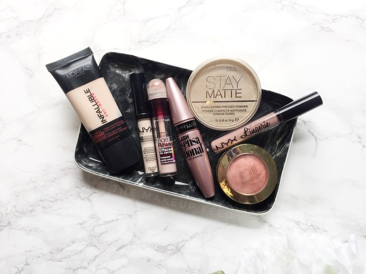 Drugstore Makeup ACTUALLY Worth the Hype | L'oreal Infallible Pro-Matte Foundation    NYX HD Concealer    Maybelline Instant Age Rewind Concealer    Maybelline Lash Sensational Mascara    Rimmel Stay Matte Pressed Powder    NYX Lingerie Liquid Lipstick in 'Lace Detail'    Milani Baked Blush