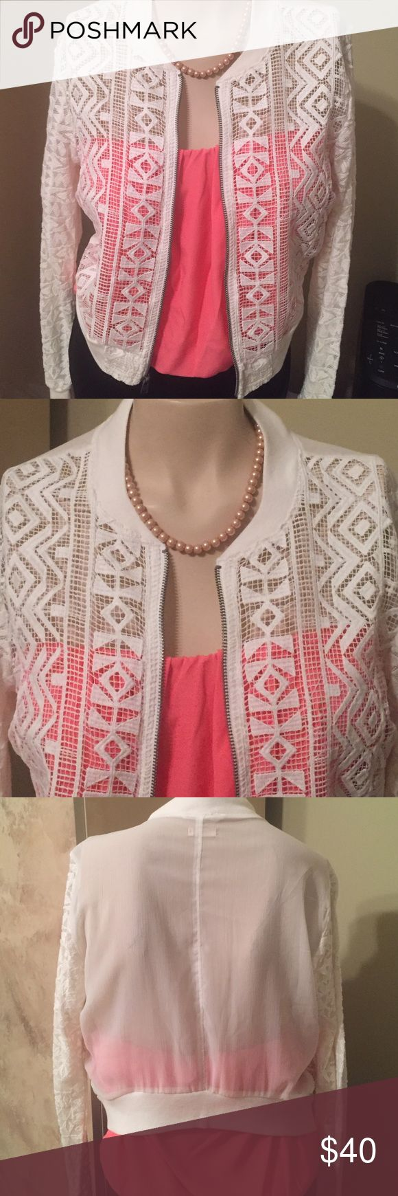 JUST IN WOMEN'S HOLLISTER CROCHET ZIP UP - S JUST IN BEAUTIFUL WOMEN'S HOLLISTER CROCHET ZIP UP JACKET SIZE S LONG SLEEVES OFFERS CONSIDEREDBUNDLE AND SAVE LOTS NEW WITHOUT TAGS  Hollister Tops Blouses