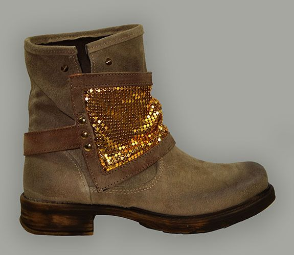 ANKLE BOOT - MADE IN ITALY, SUEDE WITH METALLIC OVERLAY, 2 STYLE, VINTAGE TREATM