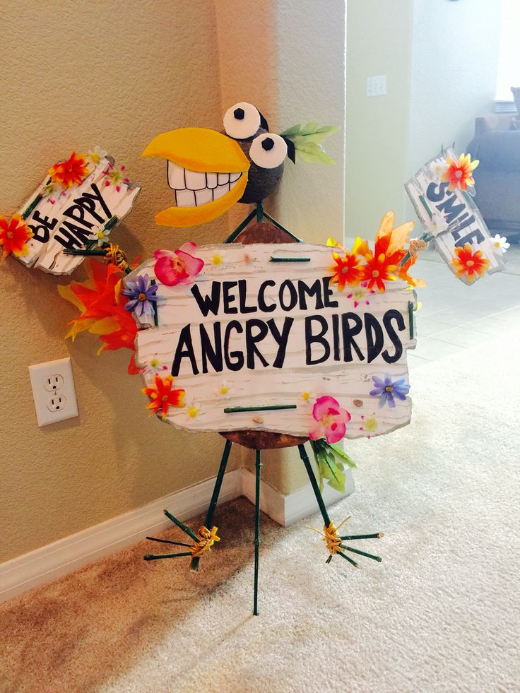 Angry bird welcome sign birthday