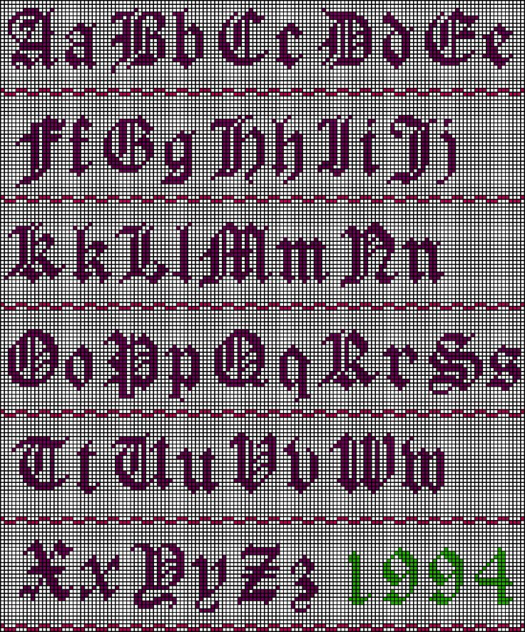 Old English Alphabet Stitch Chart ... possibly for a graphgan??
