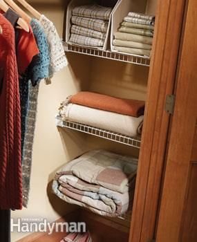 Closet nook shelves - Closet cubbies Make the most of the recesses at the ends of your closet with wire shelving.