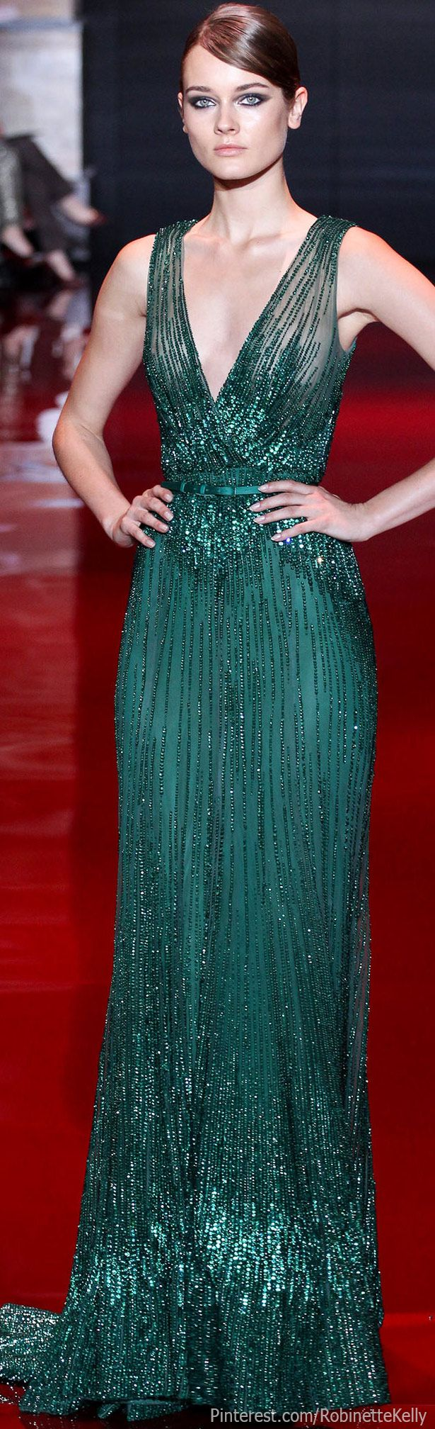 Elie Saab Haute Couture | #beaded #gown #dress | This green evening gown can be made for you by www.DariusCordell.com