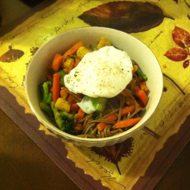 Wok Stir fry soba noodles in spicy soy glaze with carrots, broccoli ...