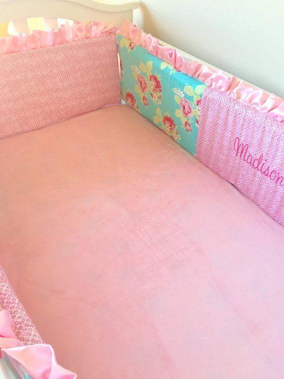Lola Roses Baby Bedding Flat Bumper Crib By RitzyBabyOriginal