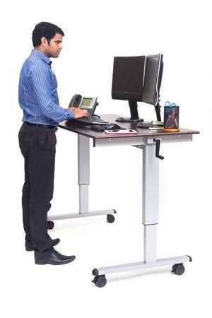 """C StandUp-CF60-DW 60"""" Sit to Stand Crank Adjustable Computer Desk"""