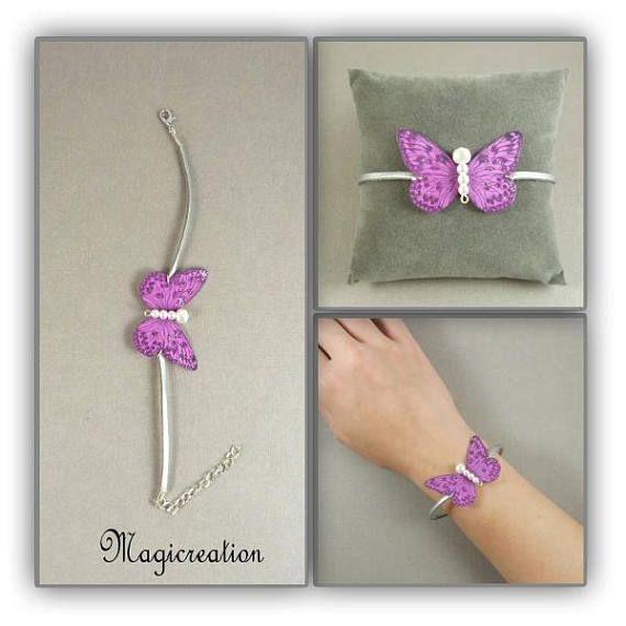 bracelet papillon romantique soie fuchsia et argenté cordon