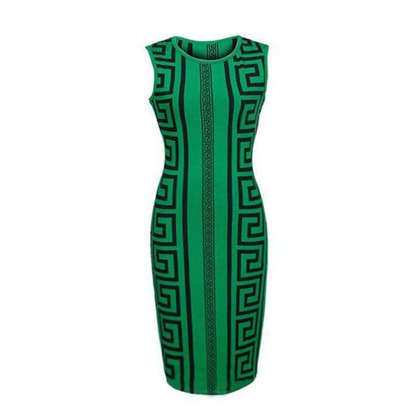 Summer Women Dress 2016 Plus Size Women Clothing Sexy Club Bandage Dress Green Geometric Print Elegant Bodycon Pencil Dress