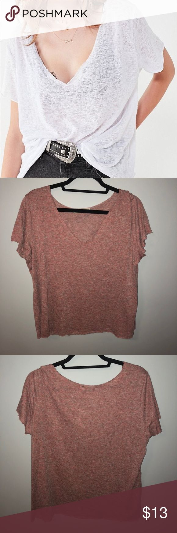 Project Social Tee (IN PINK!!) Cute pink v-neck from Urban Outfitters, lightweight and cute for summer with a bralette:) Urban Outfitters Tops Tees - Short Sleeve