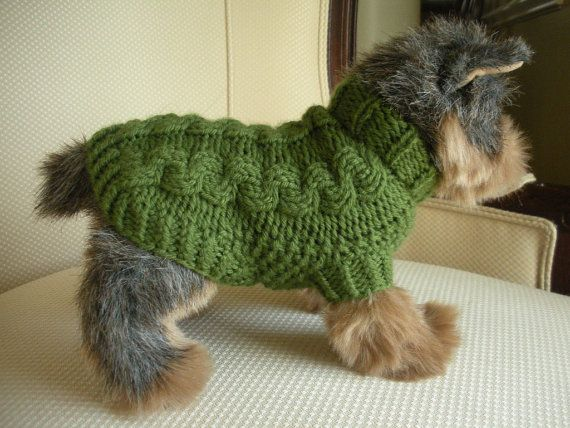 Knitting Pattern For Teacup Dog : Merino Cashmere Cable Knit Dog Sweater - Olive Green ...