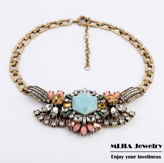 Women's vintage short necklace New hot beautiful gorgeous retro chain with gem petal necklace & pendant for women girls set N487-inChain Nec...