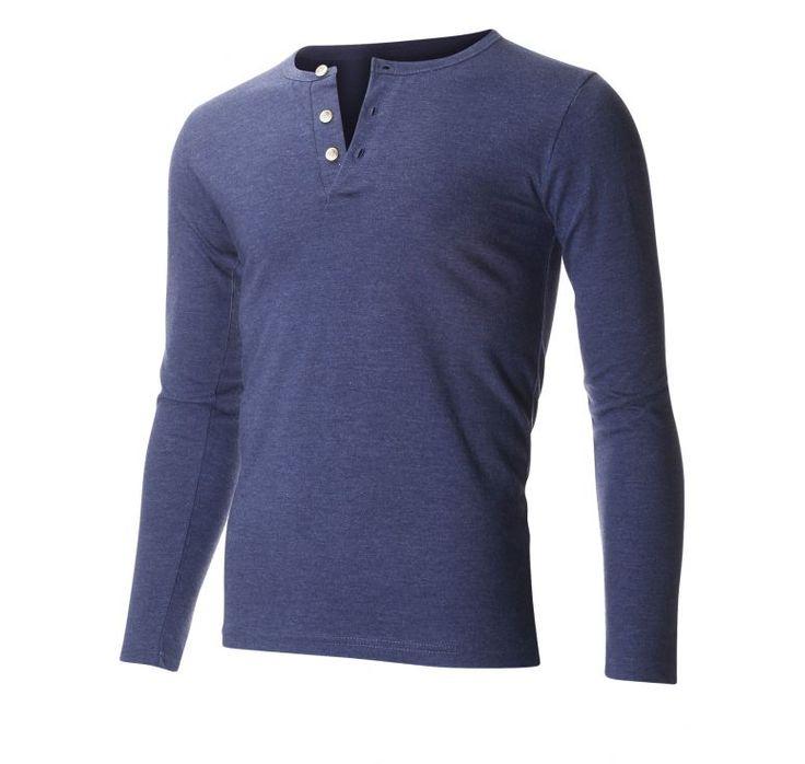 Men 39 S Slim Fit Casual Long Sleeve Henley T Shirt Thl100