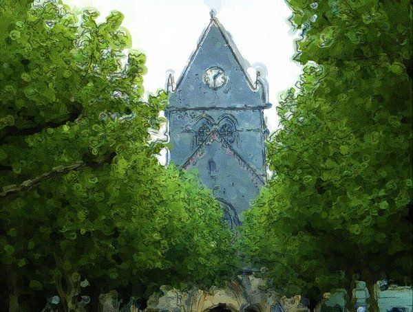 digital art st mere eglise church painting by john lowe on lowes paint sale today id=27801