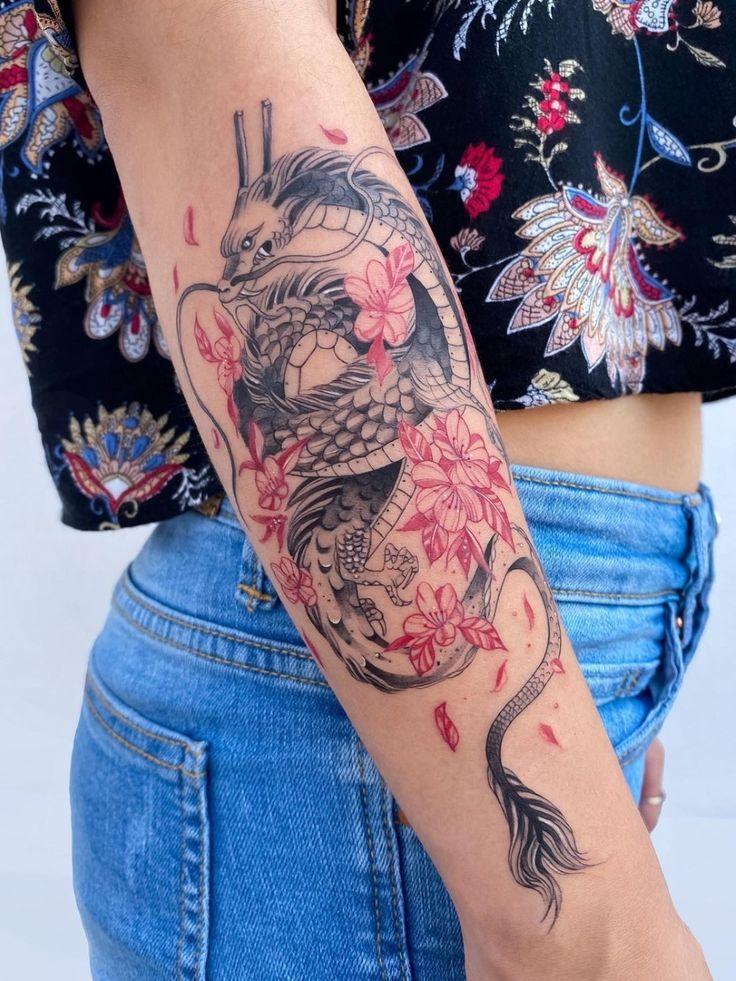 Dragon Tattoo With Cherry Blossom, Dragon Tattoo With Flowers, Red Flower Tattoos, Red Dragon Tattoo, Dragon Tattoos For Men, Red Tattoos, Japanese Dragon Tattoos, Back Tattoos, Cute Tattoos