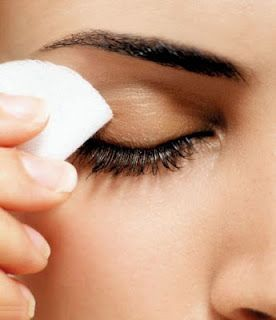 homemade eye makeup remover:  Pour 1 part olive oil, two parts witch hazel, and a few drops of lavender essential oil into your container, cap it, and shake vigorously.   (witch hazel + white vinegar + distilled water = instant toner)