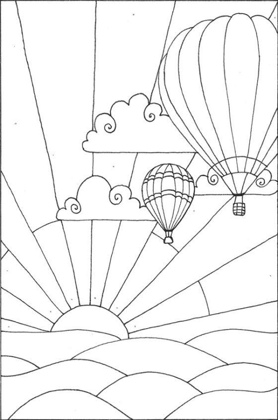 hot air balloon coloring page - photo #18