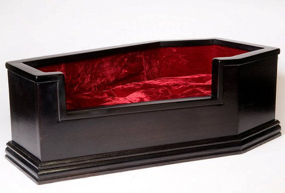 velvet-lined coffin pet bedDogs Beds, Coffin Beds, Pets Beds, Coffin Pets, Coffin Cat Beds, Pet Beds, Dog Beds, Coffin Dogs, Boys Pets