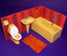 VINTAGE 1970's LUNDBY DOLLS HOUSE COMPLETE BATHROOM SUITE