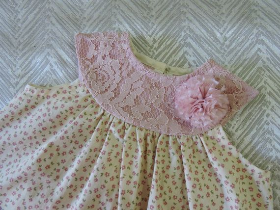 Girls pink floral sleeveless dress on a pink lace by VSLFashions