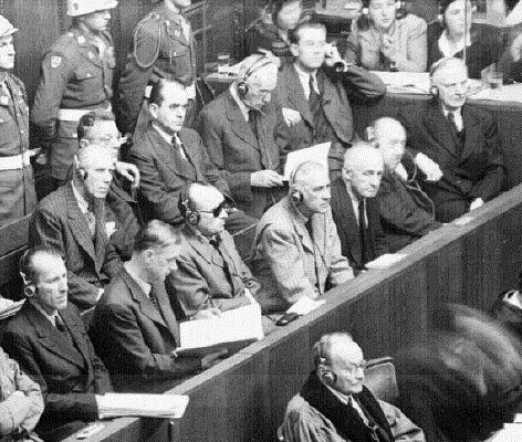 Some of the defendants at Nuremberg. Front row, from left to right: Ernst Kaltenbrunner, Alfred Rosenberg, Hans Frank, Wilhelm Frick, Julius Streicher, Walther Funk, Hjalmar Schacht. Back row from left to right: Franz von Papen, Arthur Seyss-Inquart, Albert Speer, Konstantin van Neurath, Hans Fritzsche.