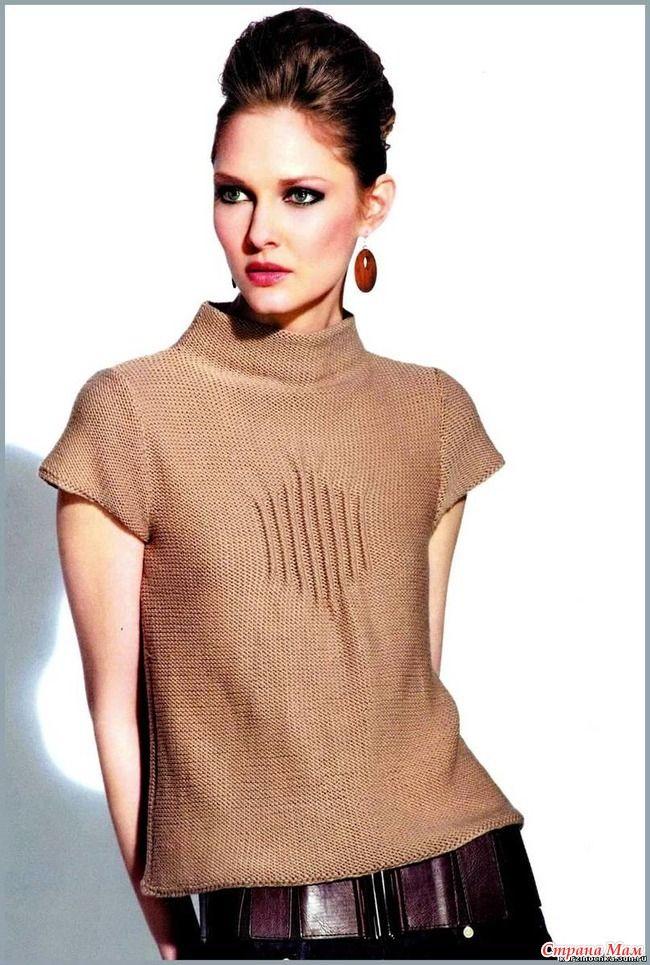 """Простой в вязании свитер с короткими рукавами можно надеть в офис, на прогулку или в кафе. Модель связана спицами. Размер 40-42 (44-46; 48-50; 52-54).  """"свитер бежевый"""""""