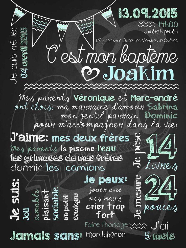 Affiche personnalisée Baptême Charmants chevrons (bleu) | 28,00$ #chalkboard #lacraieco