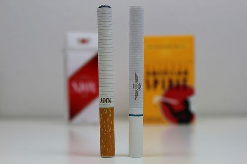An Njoy electronic cigarette in comparison to a tobacco cigarette.  Njoy King e-cig is one of the few brands that closely resembles the feel, size, and look of an actual cigarette. The mouth tip is made of soft rubber material. The e-cig is very ligh will check it out Check similar product at: http://productsreviews.ca/EcigBrand