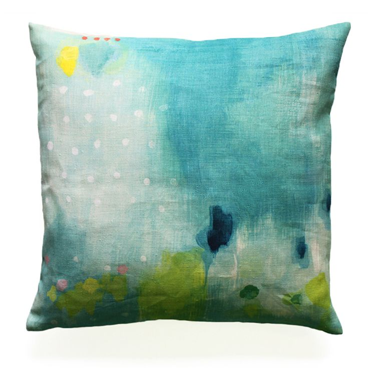 Belinda Marshall Studio — 'just one thing' linen cushion with feather insert. printed, hand cut and sewn in melbourne. 45x45cm • Available at thebigdesignmarket.com