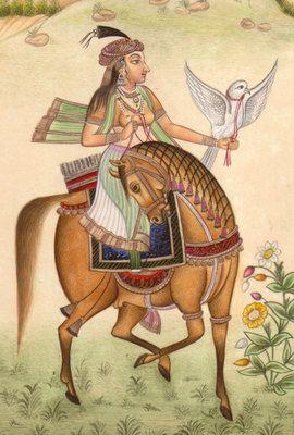 Mughal-Dynasty-Miniature-Painting-STUNNING-Royal-Moghul-Equestrian-Falconry-Art-200792732574-3