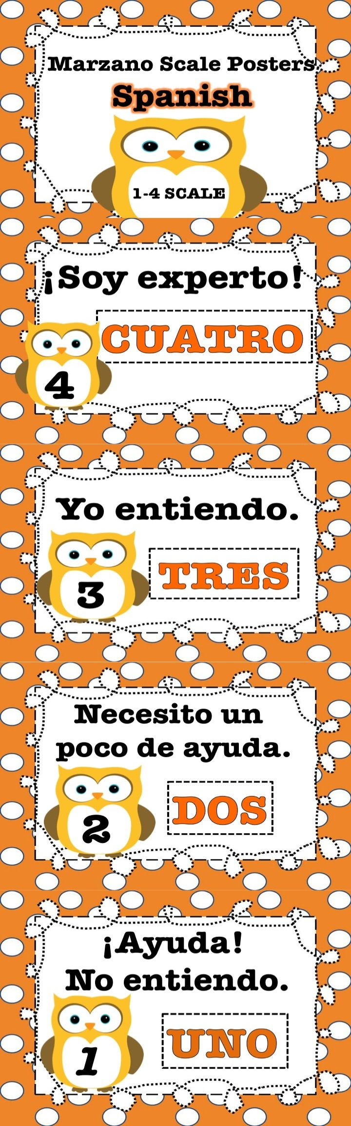 This is a set of four posters in Spanish that teachers and students can utilize to assess learning based on the Marzano scale fist of four. Enjoy!