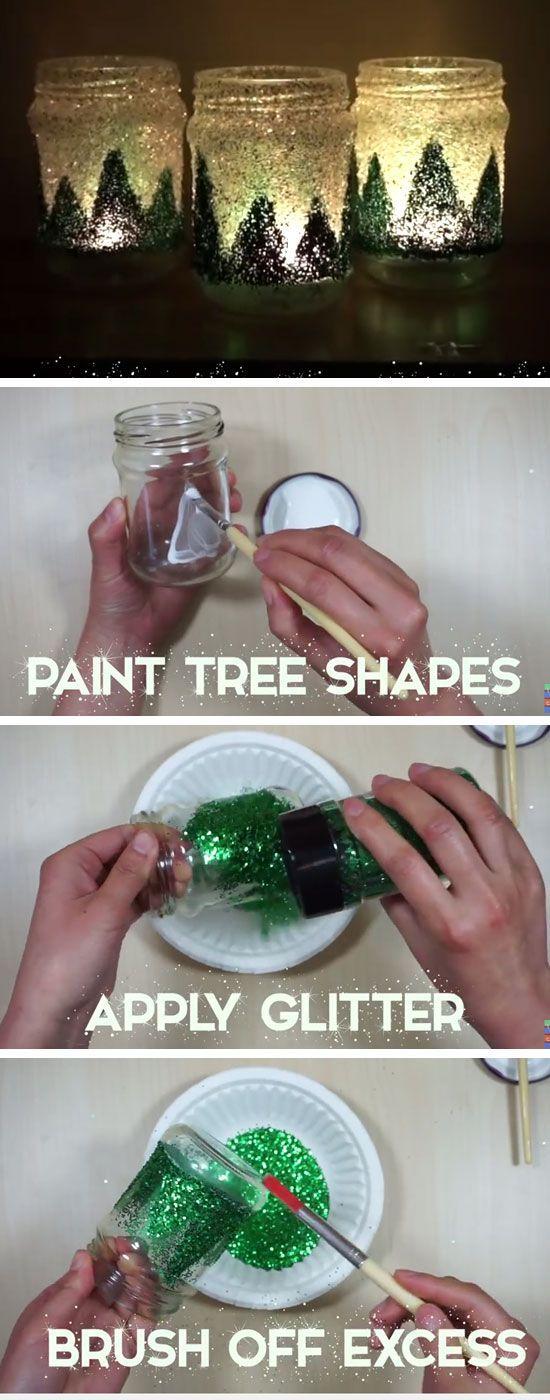 Christmas Glitter Jars   Easy Christmas Crafts for Kids to Make   Cheap Handmade Christmas Decorations on a Budget DIY