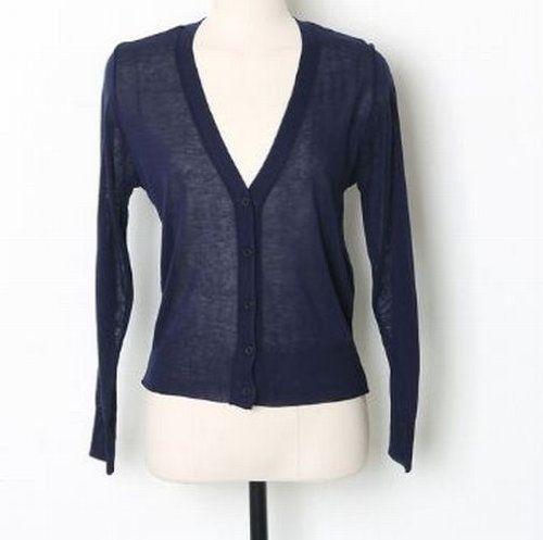 Amazon.co.jp: ショート丈長袖カーディガン レディースファッション (ネイビー): 服&ファッション小物通販