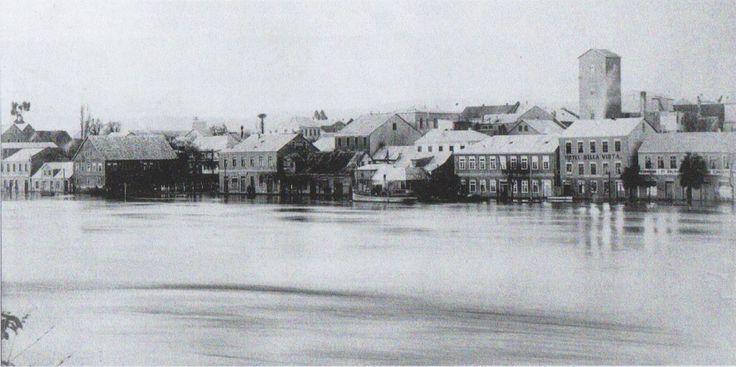 Gran inundación de 1899 avenida Arturo Prat entre calles libertad y Arauco San Carlos