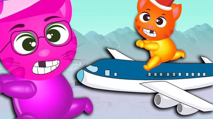 Finger Family Funny Cats | Funny Cats playing with Aeroplane finger family Rhyme for Kids