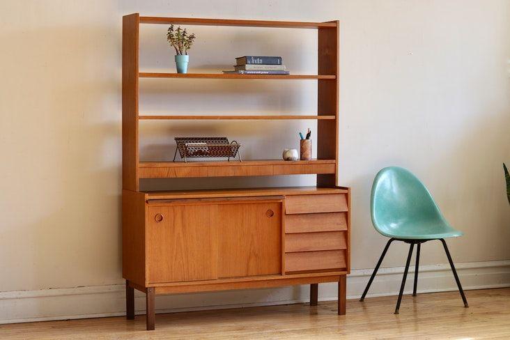 Mid Century Modern Scandinavian Shelving Desk Unit