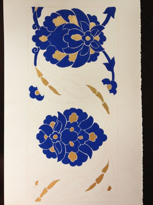 Student's work from the Islamic manuscript illumination class.