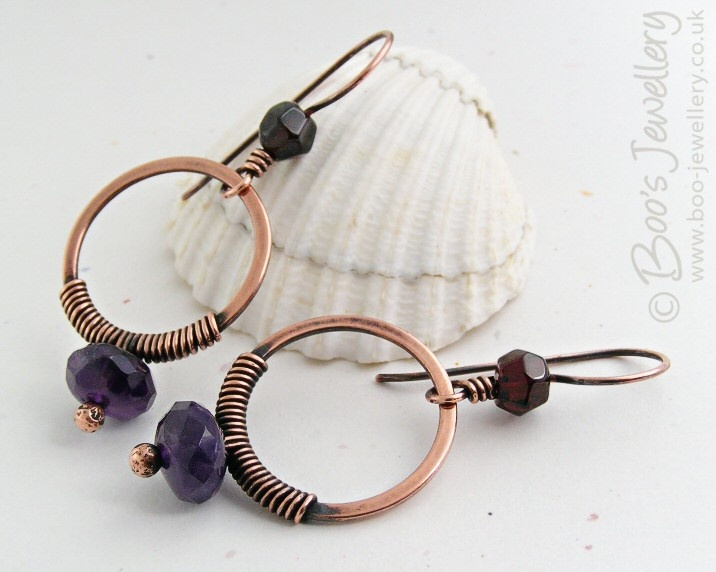 Antiqued copper earrings
