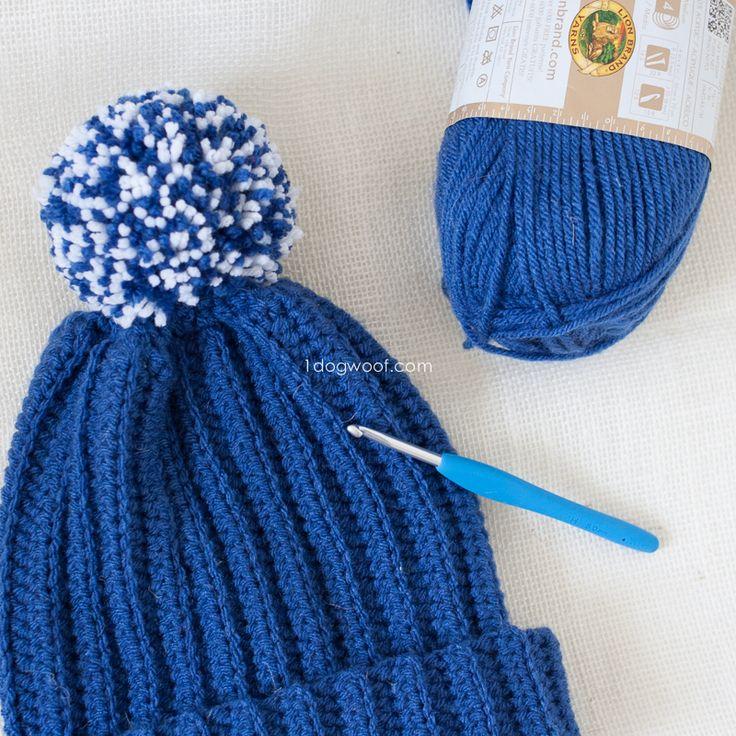 Lolly-Poms Easy Ribbed Crochet Beanie | www.1dogwoof.com