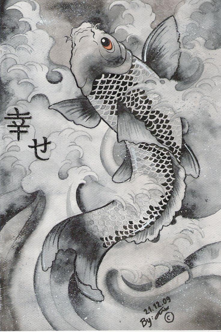 fish fish fishJapanese Carpe, Japanese Art, Fish Fish, Fish Art, Black And White, Fish Tattoo, Koi Fish, Japan Art, Art Painting