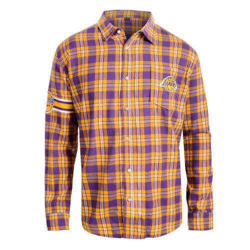 Los Angeles Lakers Shirt - Logo Mens Long Sleeve Flannel Shirt