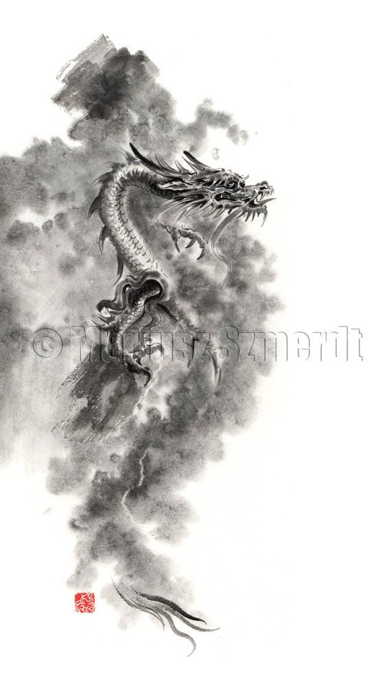 Dragons Dragon Japanese Chinese Fantasy Landscape Clouds