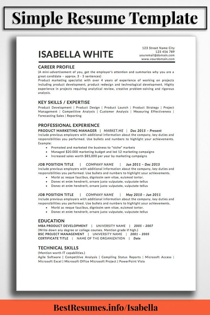Product Marketing Specialist Sample Resume Resume Template Isabella White  Resume Templates Optimised For .