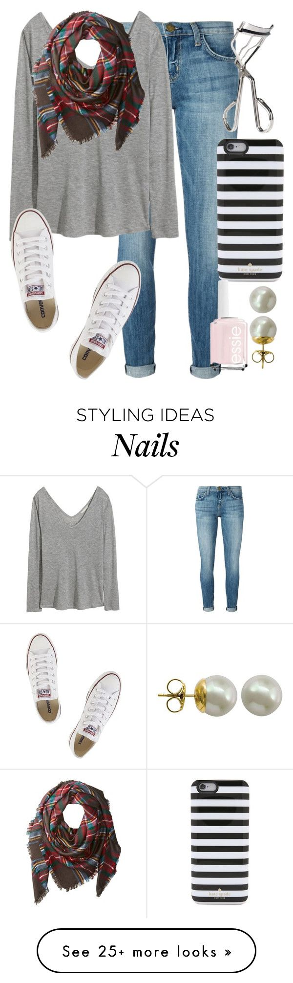 """""""*breaths rlly heavy bc is angry*"""" by elizabethannee on Polyvore featuring Current/Elliott, Kate Spade, H&M, Benefit, Buji Baja, Converse, Essie and Majorica"""