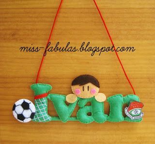 Baby name felt football boy - Nombre bebe futbol niño en fieltro CONTACT: carmenmissfabulas@gmail.com